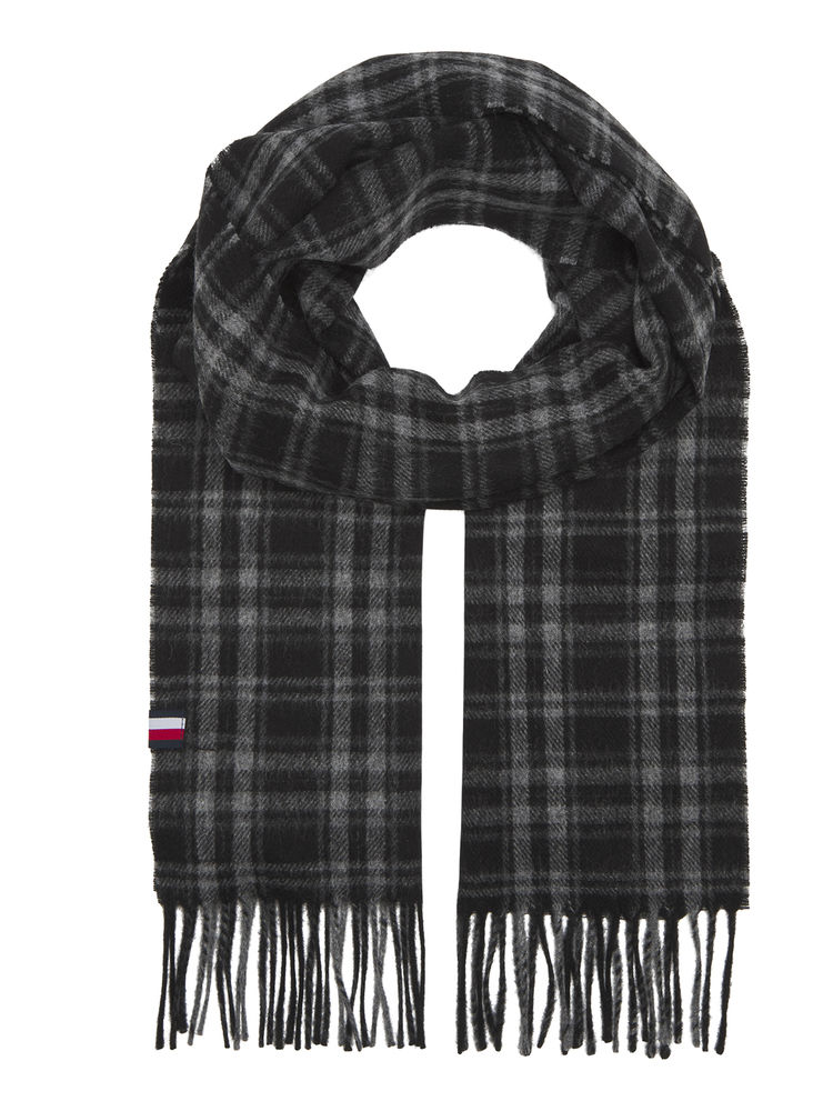 Uptown Wool Scarf, Black Check