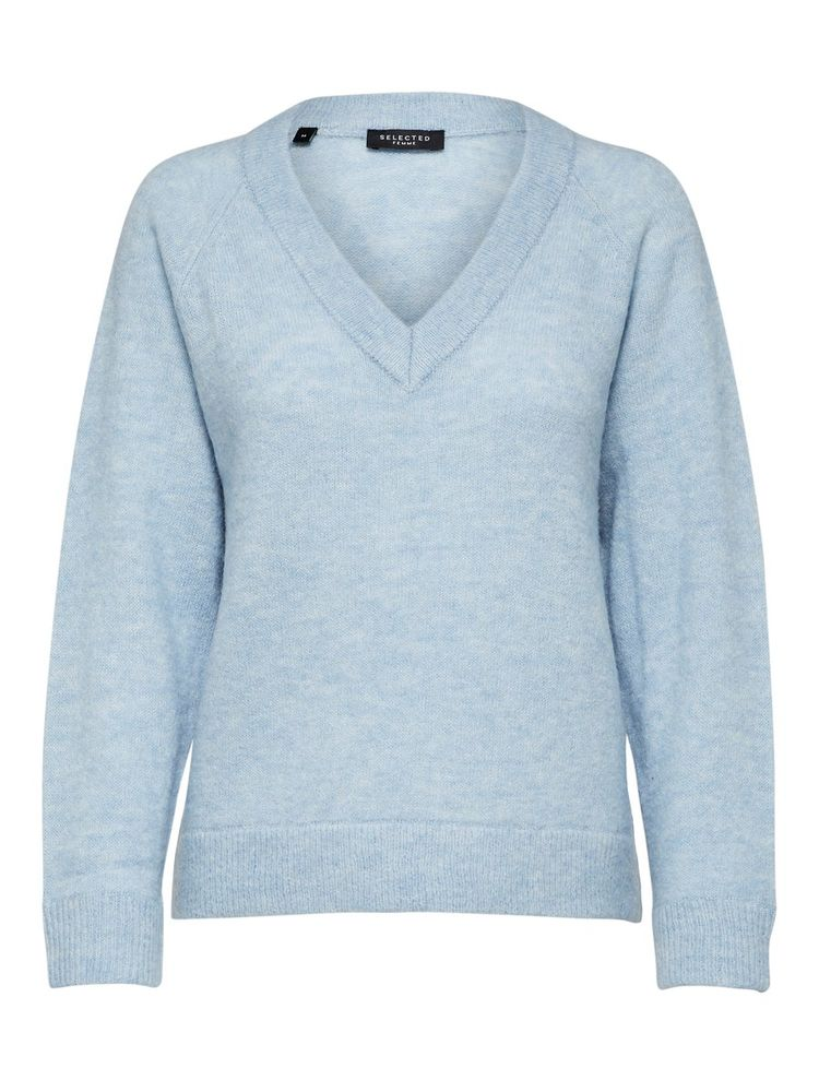 Lulu Knit V-neck, Cahmere Blue