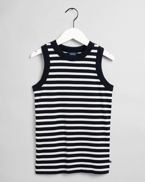 Striped 1x1 Rib Tank Top, Evening Blue