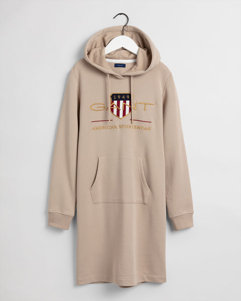 Archive Shield Hoodie Dress, Beige