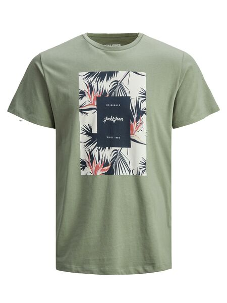 Floral Print Tee, Sea Spray