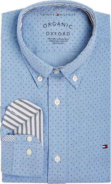 Oxford Mini Print Shirt, Copenhagen Blue