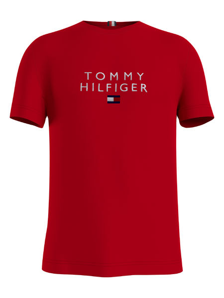 Stacked Tommy Flag Tee, Primary Red