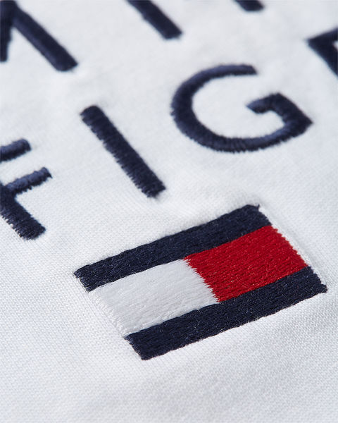Stacked Tommy Flag Tee, White