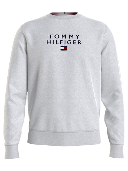 Stacked Tommy Flag Crew, Medium Grey Heather