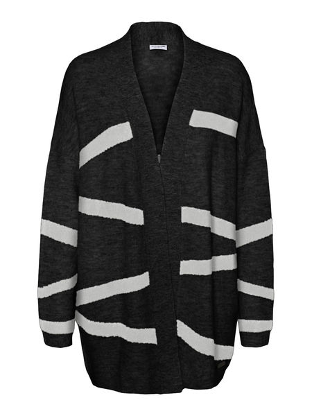 Beth Knit Cardigan, Black-Light Grey
