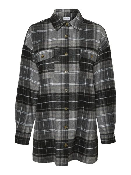 Flanny Long Shacket, Black Checks