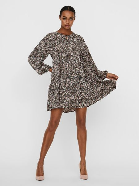 Florentina Short Dress, Black AOP