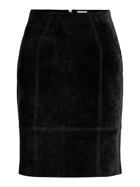 Faith High Waist Suede Skirt, Black