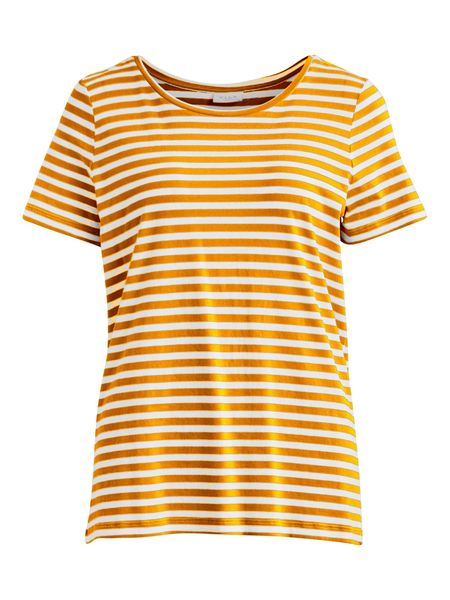 Sus O-neck T-shirt, Spicy Mustard Stripes