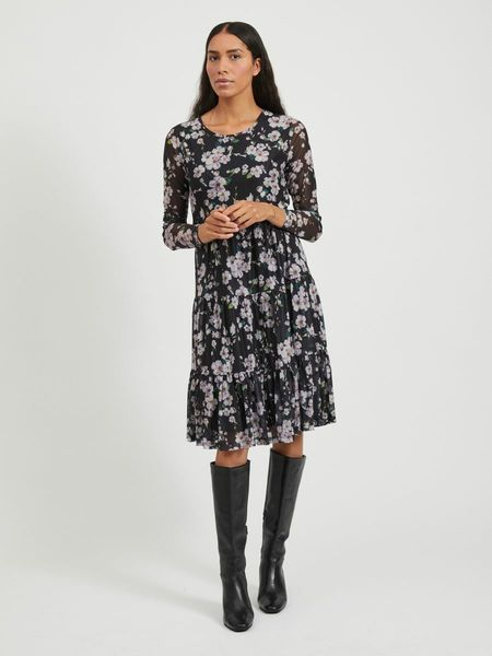Davis Printed Dress, Black Purple Flowers