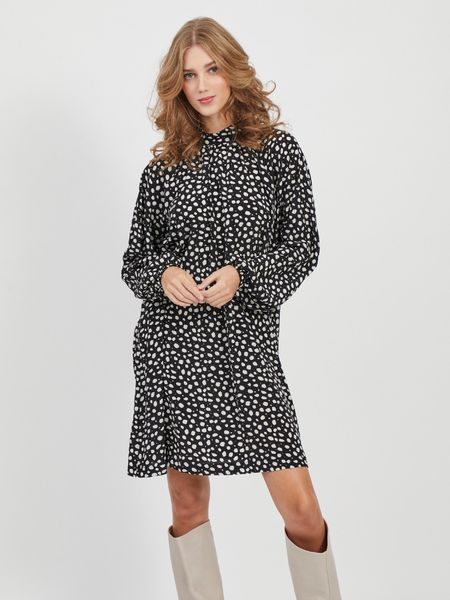 Bella L/S Dress, Black AOP