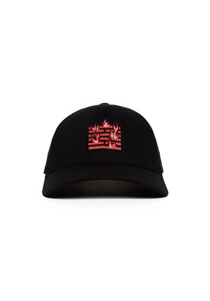 Flame Curve Cap, Black